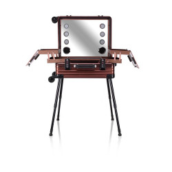 Victoria Professional Lighted Makeup Storage & Organizer Suitcase With Stand - Metallic Brown