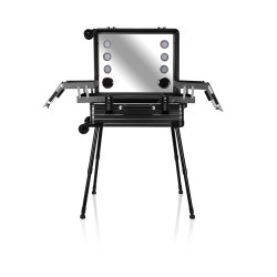Victoria Professional Lighted Makeup Storage & Organizer Suitcase With Stand - Black