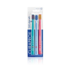 Curaprox Cs 5460 Ultra Soft Toothbrush - Trio Blue,Light Blue & Red Brush