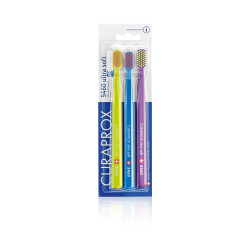 Curaprox Cs 5460 Ultra Soft Toothbrush - Trio Lime Green,Blue & Violet Brush