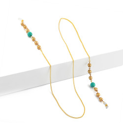 BL Golden Eyeglasses Chain with Blue Stone