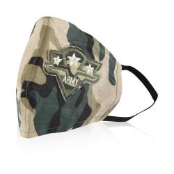 Aya Face Mask - Army Camouflage Label - Black Elastic