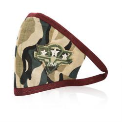 Aya Face Mask - Army Camouflage Label - Maroon Elastic