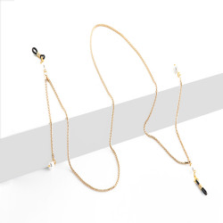 BL Golden Eyeglasses Chain White Pearls
