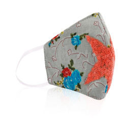 Heba Collection Multi Purpose Cotton Mask Light Grey With Orange Star - Age 4 To 9