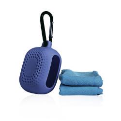 Portable Micro Fiber Towel With Silicone Case - Navy