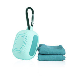 Portable Micro Fiber Towel With Silicone Case - Mint