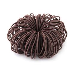 Elastic Nylon Hair Ropes 4.5 Cm - Coffee - 100 Pcs Set