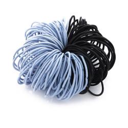 Elastic Nylon Hair Ropes 4.5 Cm - Light Blue With Black - 100 Pcs Set