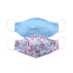 Zippy Double Layer Blue Pattern Face Mask For Kids 3-10 Years Old