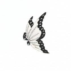Bijoux De Pele - Skin Jewelry - Half White Butterfly Witgh Black Border