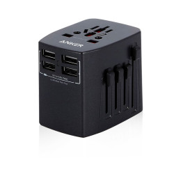 Anker Universal Travel Adapter with 4 USB Ports - Black