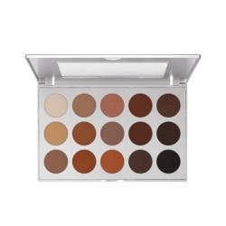 Kryolan Professional Eyeshadow Palette 15 Colors - Smokey Brown
